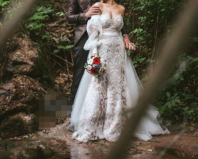 Luxusné svadobné šaty 3v1 /3D čipka - Obrázok č. 1