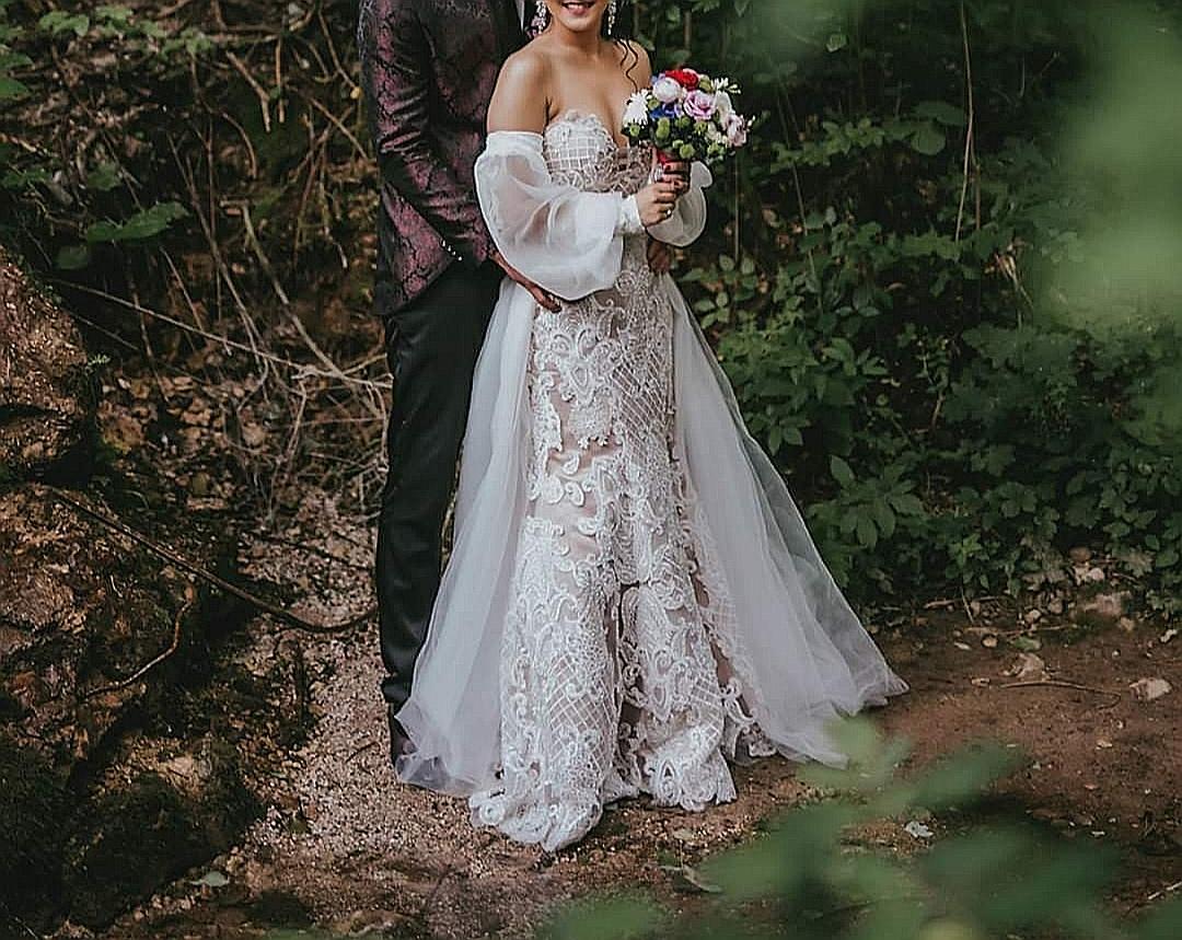 Luxusné svadobné šaty 3v1 /3D čipka - Obrázok č. 2