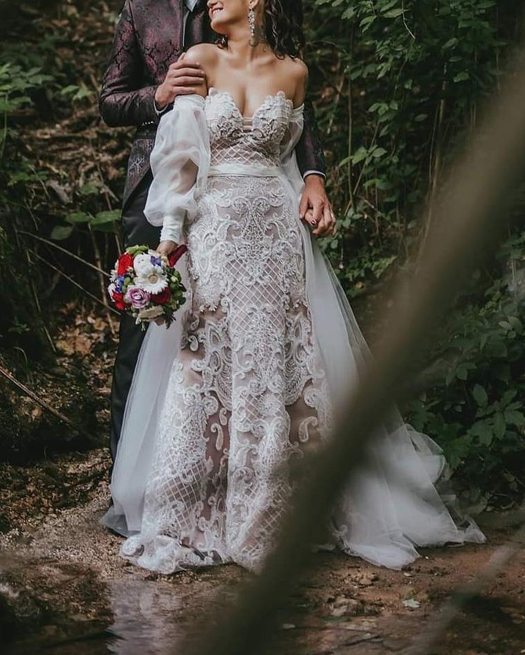 Luxusné svadobné šaty s 3D čipkou - Obrázok č. 1