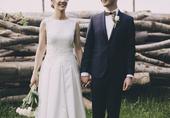 Saténové svadobné šaty s čipkou 36/38, 36