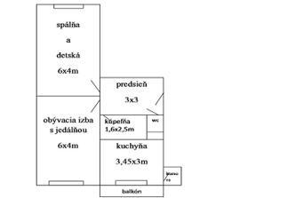 pôdorys bytu, (oprava chodba je 3,45 x 2,5)