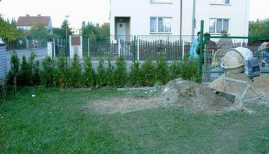 Zahrada, tůjky konečně rostou a zedníci začali...