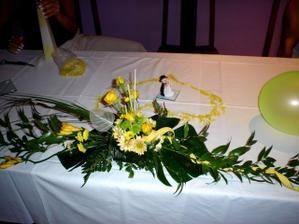 Žlutá svatební tabule....ale určitě bez balonku....to srdíčko je ale krásné