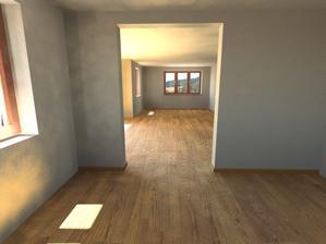 Už se vidím, jak se tam procházím :-) Pohled z budoucí kuchyně přes jídlení část do obýváku :-)