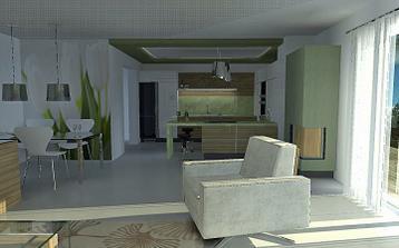 """v kuchyni nie je prirodzene osvetlenie, navrhnutý je napínaný strop Clipso (využije sa preklad a dorobeny """"ram"""")"""