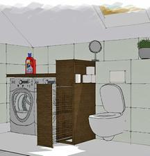 od WC je skrinka s policou, ma vysku vysunuteho murika, za ktorym su instalacie. Vyska je prisposobena technike a obkladu. WC moze byt od nej aj dalej - podla kanalizač prípojky