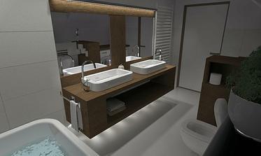 okrem hlavneho osvetlenia a pasoveho svetla nad zrkadlom by mohlo byť aj osvetlenie pod konzolovou policou s umývadlami, vyzerala by ľahšie