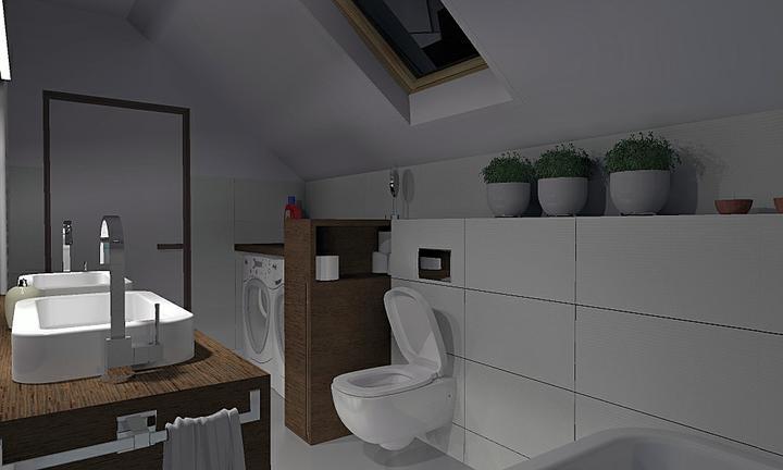 Pre@ruthy kupelna 1.+2. diel - Tu je zapálené len osvetlenie nad umývadlami. Keď sa zažne na strope, bude svetla ako cez deň :-)