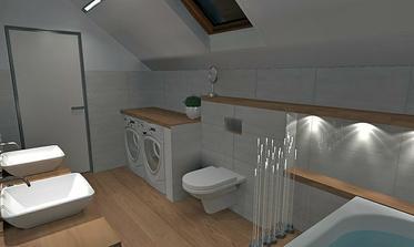 na stene pod šikminou je zavesene WC,vo výške nikou prerušenej prímurovky pokračuje polica. Opakuje sa tu vodorovna drevena linia v 3 vyskach. Obklad je jednoduchy bez vzorov a farieb, je dost inych vyraznych prvkov