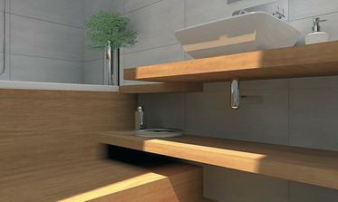 """detail konzoly a schodu k vani. Spodná polica sa dá do výšky, prispôsobenej sifónom, a aby medzi ňou a schodom ostala """"ľahko upratovateľná""""medzera"""
