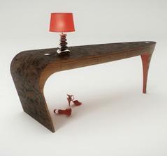stolik Stiletto inšpirovaný opätkom ženskej topanky,vyrobený z masívneho orechového dreva na spodu  leštený červený akryl