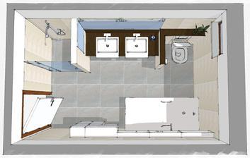 K1 obmurovana sprcha polozapustene umyvadla