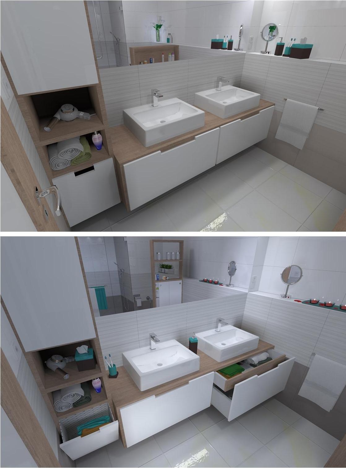 Kupelne a kupelnicky - navrh do noveho bytu