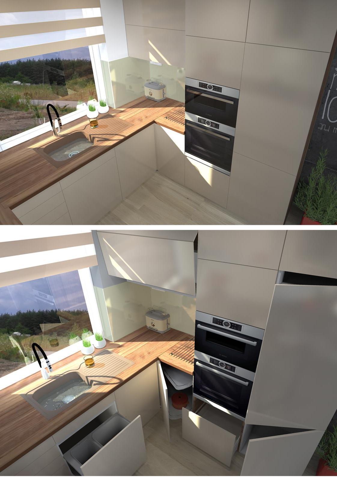 Povyberané na inspiráciu - pre @kotatkomimi   tu su v kute zavrete nastenne skrinky so zalamovacimi dvierkami a chyba potravinova skrina pri chladnicke (ale zmesti sa aj ta)