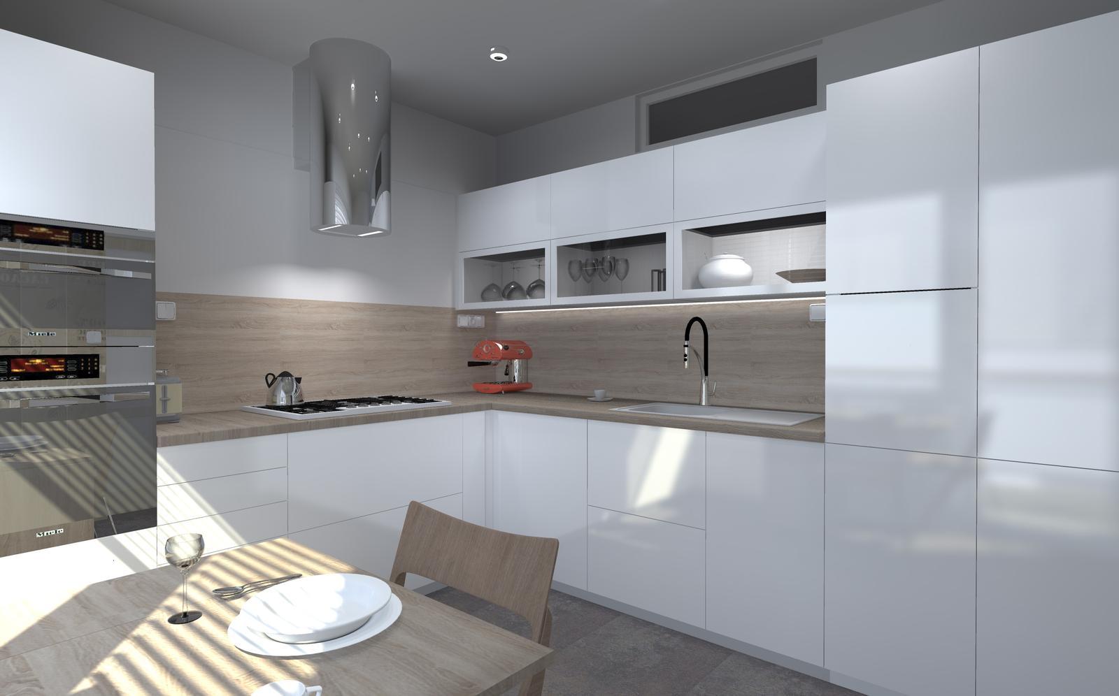 "Kuchyne nielen do panelakovych bytov - tzv ""Ucko"", jadro je za stenou s okienkom"