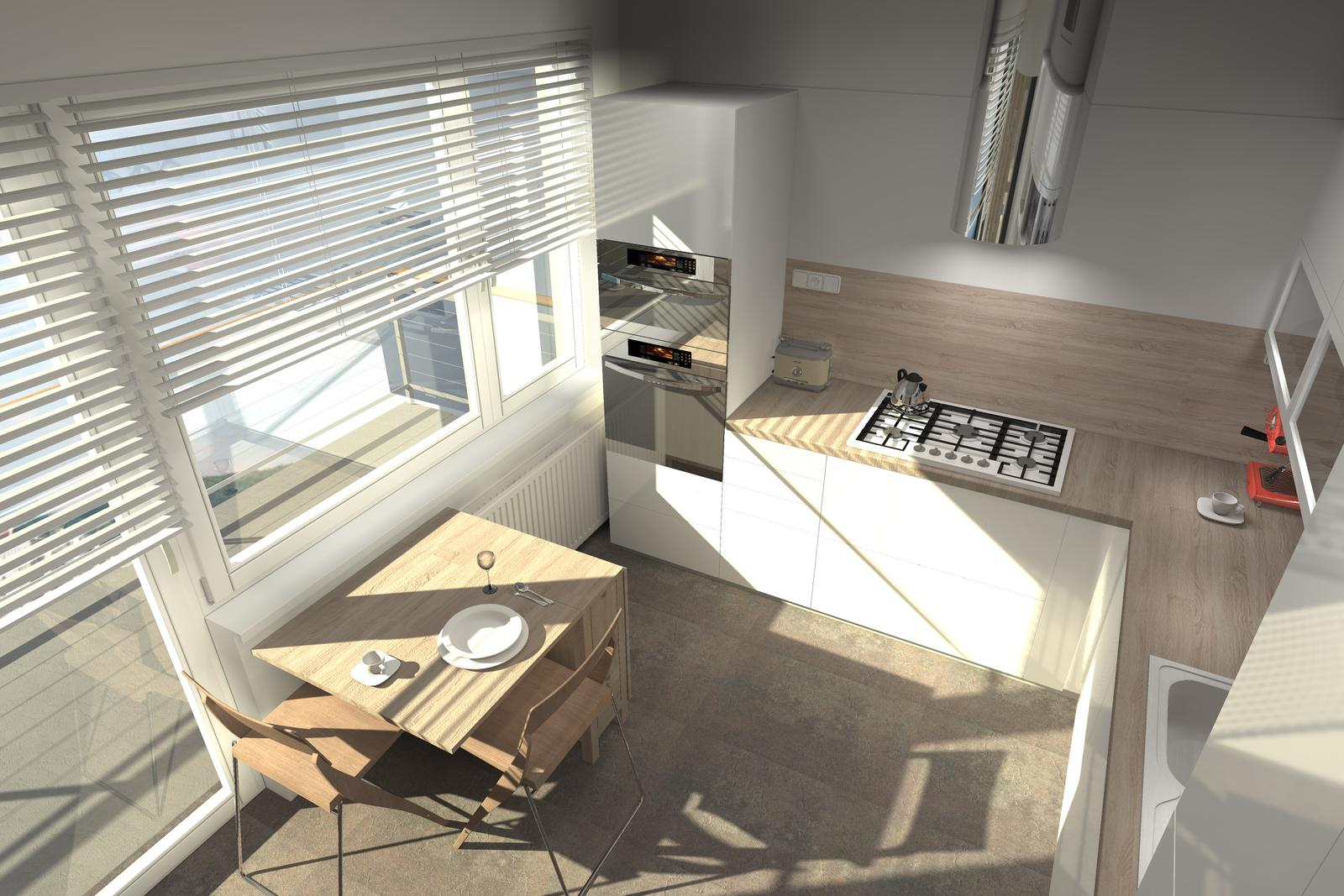 Kuchyne nielen do panelakovych bytov - skladaci stolik IKEA podlaha Haro Celenio
