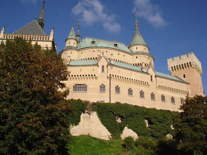 """Zelene fasady - Storočný brečtan na múroch Bojnického zámku vôbec murivu neublížil. Na miestach, kde ho chránil, ostalo takmer neporušené. V horšom stave bola """"holá"""" stena vystavená priamym vplyvom počasia."""