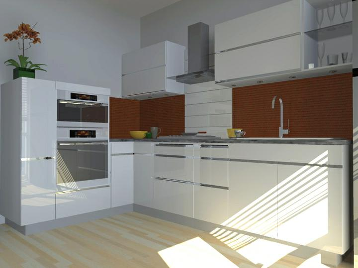"""Kuchyne nielen do panelakovych bytov - aby nebola prilis """"laboratorna"""", je tu kontrastny obklad zasteny"""