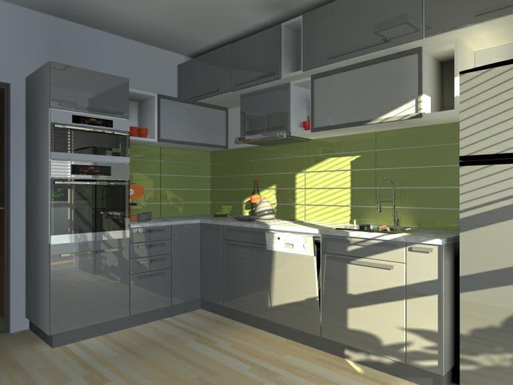 """Kuchyne nielen do panelakovych bytov - kontrast vytvára veľkoplošná keramika s úzkymi škárami. Zástena môže farebne kontrastovať s prednými plochami, byť rovnakej farby, alebo ich farebne dopĺňať spôsobom """"tón v tóne"""""""