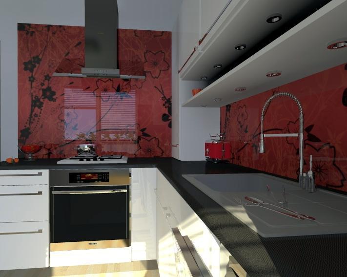 Kuchyne nielen do panelakovych bytov - a dat namiesto obkladaciek kalene sklo