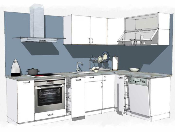"""Kuchyne nielen do panelakovych bytov - """"studena"""" bielo - modra verzia"""