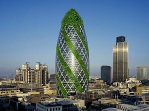 """Zmenu """"tváre"""" hydraulickými panelmi navrhol Norman Foster. Umožňujú aplikovať výhody zelených striech aj na fasády mrakodrapu."""