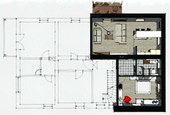 úpravy dispozície v penzióne, kde pôvodne boli len miniatúrne izbičky - 2. poschodie