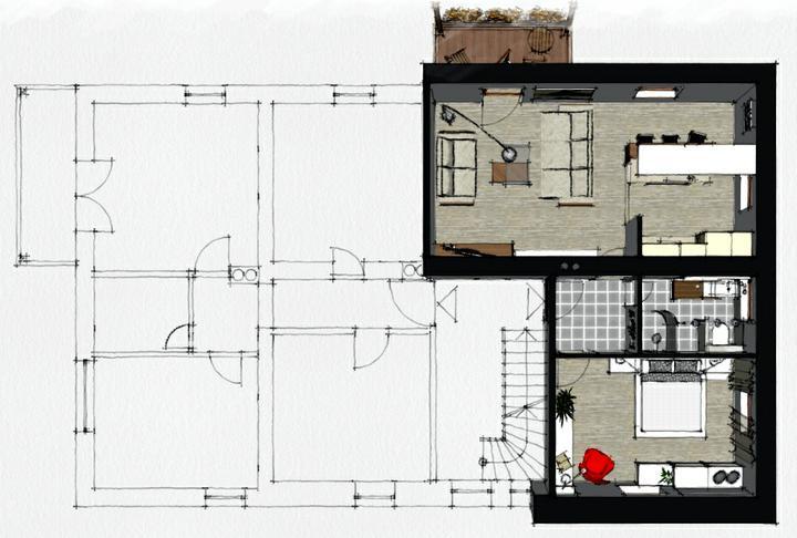 Povyberané na inspiráciu - úpravy dispozície v penzióne, kde pôvodne boli len miniatúrne izbičky - 2. poschodie