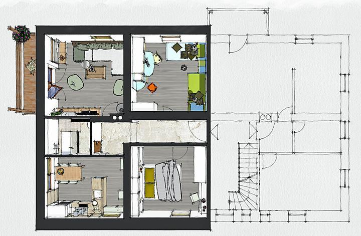 """Povyberané na inspiráciu - druhé poschodie - tento byt, čo vznikol z """"cimričiek"""" je priestrannejší"""