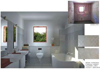 """kúpeľňa, kde všetky inštalačné rozvody boli """"vyvedené"""", obklad aj dlažba kúpené....takže žiadna fantázia..."""