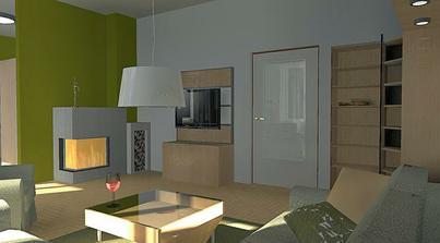 kuchyňu od obývačky delí čiastočná priečka, krb je napojený na existujúci komín (predtým tu bola piecka)