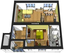 z dvoch izieb je obývačko-jedáleň-kuchyňa, zo slúžkovskej kúpeľňa