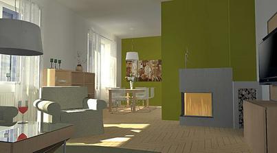 obývačka je prepojená s kuchyňou jedálenským stolom