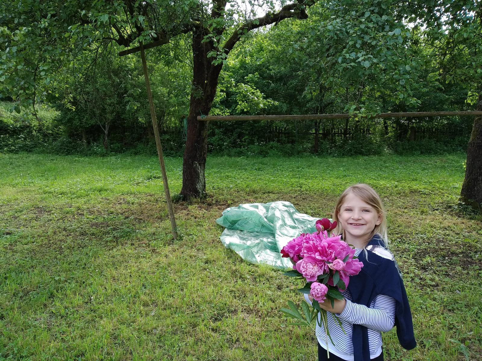 Babkina záhrada - Vzadu hrušky a medzi nimi žŕdka, na ktorej som mala zavesenú hojdačku:-)