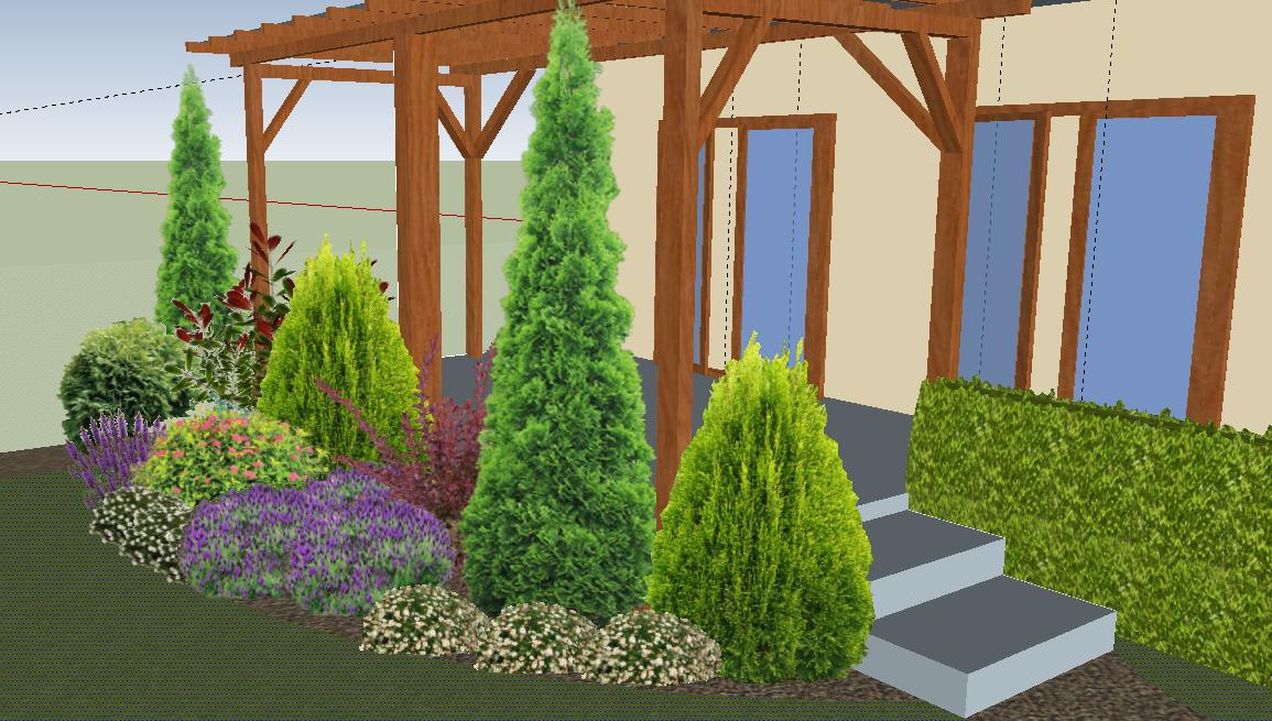 Záhrada plán a realizacia - tuja smaragd, tuja danica, tuja aurea nana, dráč, fotínia red robin, tavolnik, bršlen, šalvie, levandule, materina dúška a rožec plstnatý