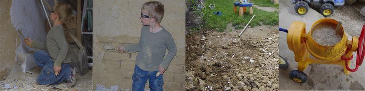 zoškrabanie starej omietky, hlina skončila na záhrade a v kadi - na svoje opatovne použitie ...