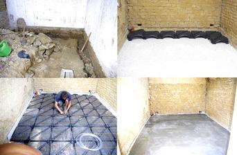 Odstránenie jestvujúcej betónovej podlahy.Pod betónom vlhká zem,nasledoval výkop do hĺbky 60 cm.Potom návažka 10 cm späť nahádzaný rozbitý betón,10 cm štrku frakcie 8-16.Po uvibrovaní štrku pokladka  IGLU elementov 12cm,karirohože a nového betónu 5cm