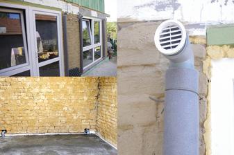 Elementy IGLU maju vyústenie nad podlahu a potom skrz obvodovú stenu na severe a juhu. Kanalizačné trubky,d=75mm na plochu 12 m2. Zabezpečujú tzv.prievan pod betónovou podlahou,pod PVC IGLU.Na juhu su 2m nad podlahou kôli správnemu ťahu.