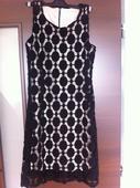 čierno biele čipkované šaty - čipka guipure, 36