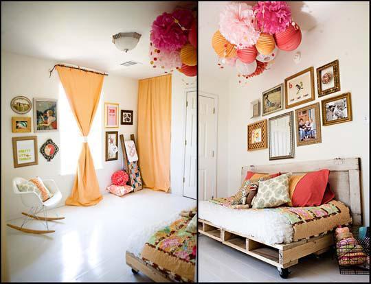 Inspiromat - Fotografka Ashley Ann a její úžasný domov - pokoj pro malou dcerku s paletovou postelí