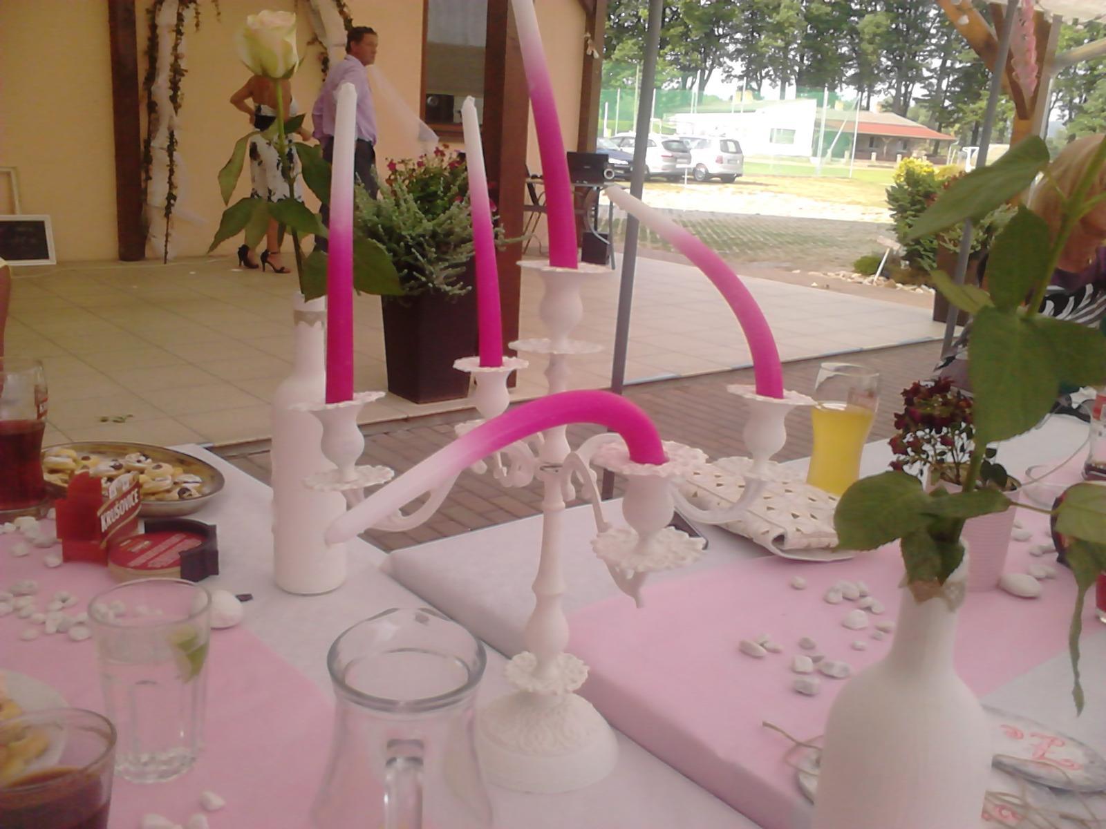 Svatební DIY, má tvorba - svíčky popadaly vedrem :-D
