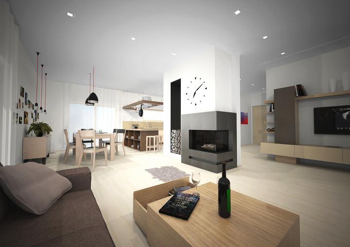 Návrh vs. skutočnosť - Návrh obývacej izby, v ktorej dominuje krb