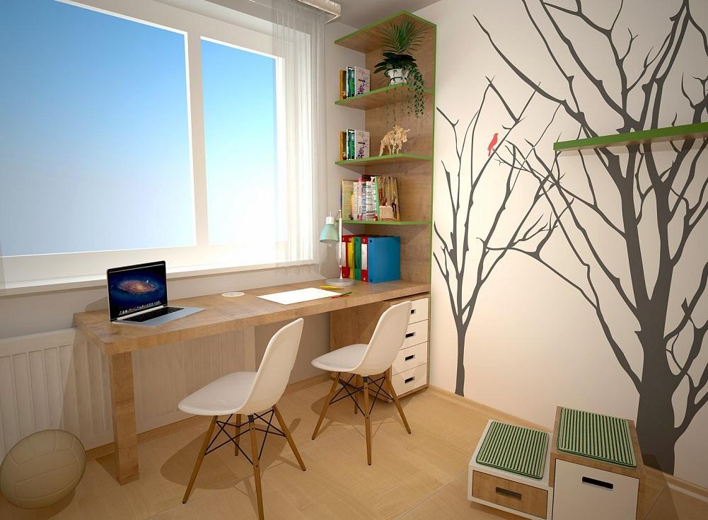 Návrh detskej izby na tému les - Schodíky využiteľné aj ako úložný a sedací priestor.