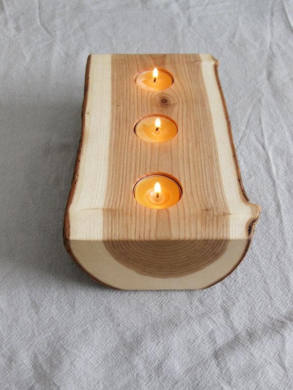Drevo - Originálny svietnik