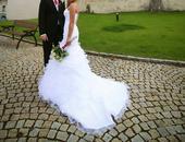 Biele svadobne saty s vleckou vel.36, 36