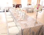 Luxusný Glitrovaný strieborný obrus na hlavný stôl,