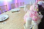 Luxusný Glitrovaný zlatý obrus na hlavný stôl,