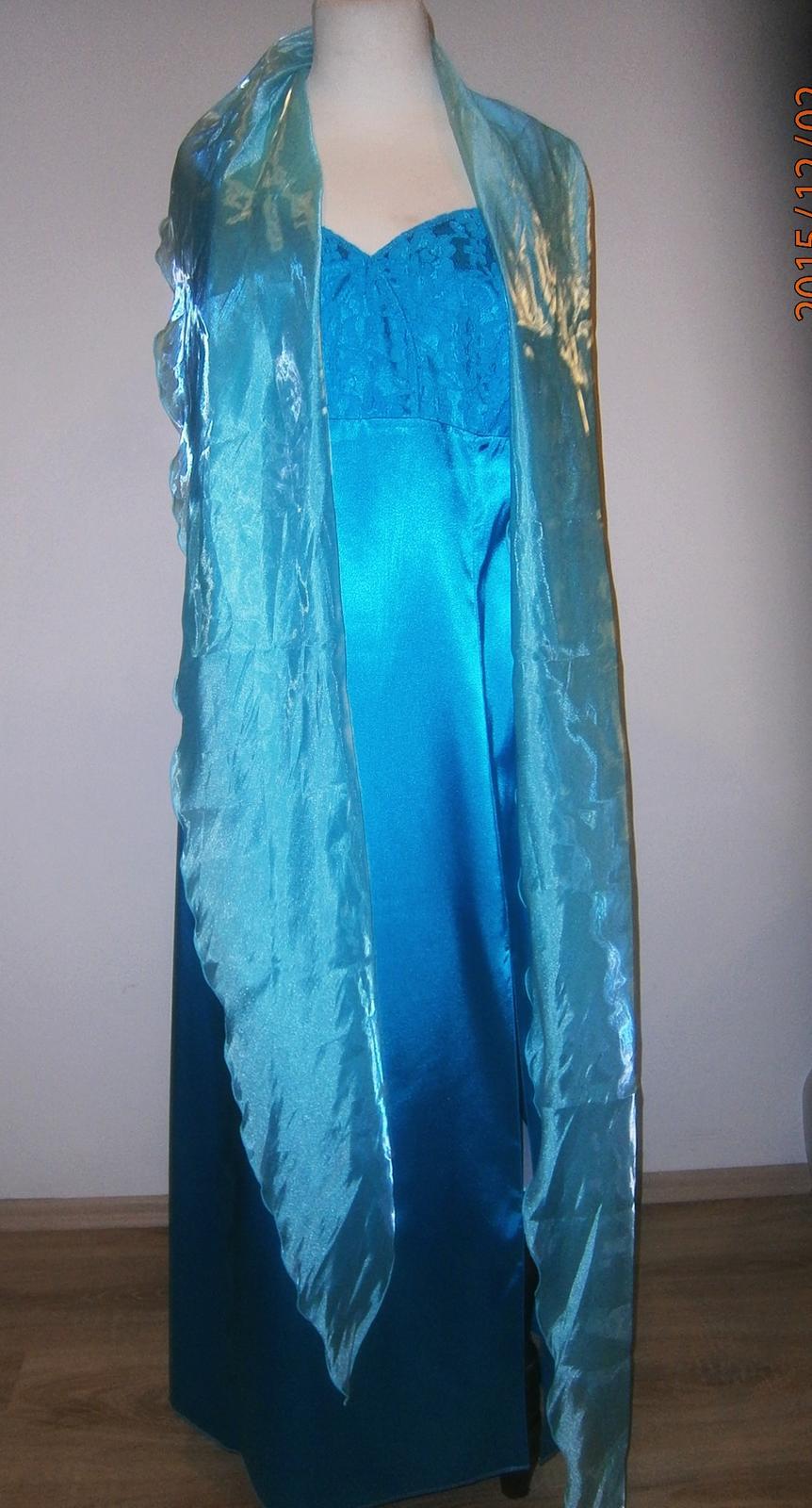 saténové šaty se šálem vel - Obrázek č. 1