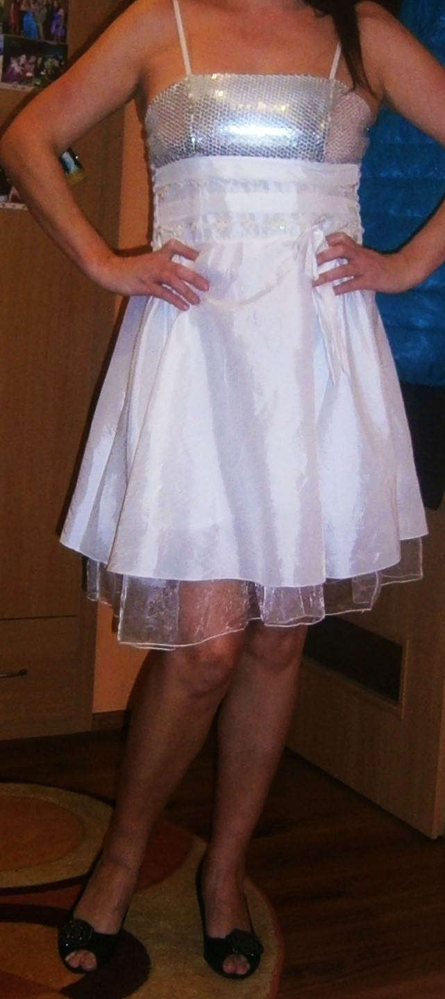 bílé šaty s flitry vel. - Obrázek č. 2
