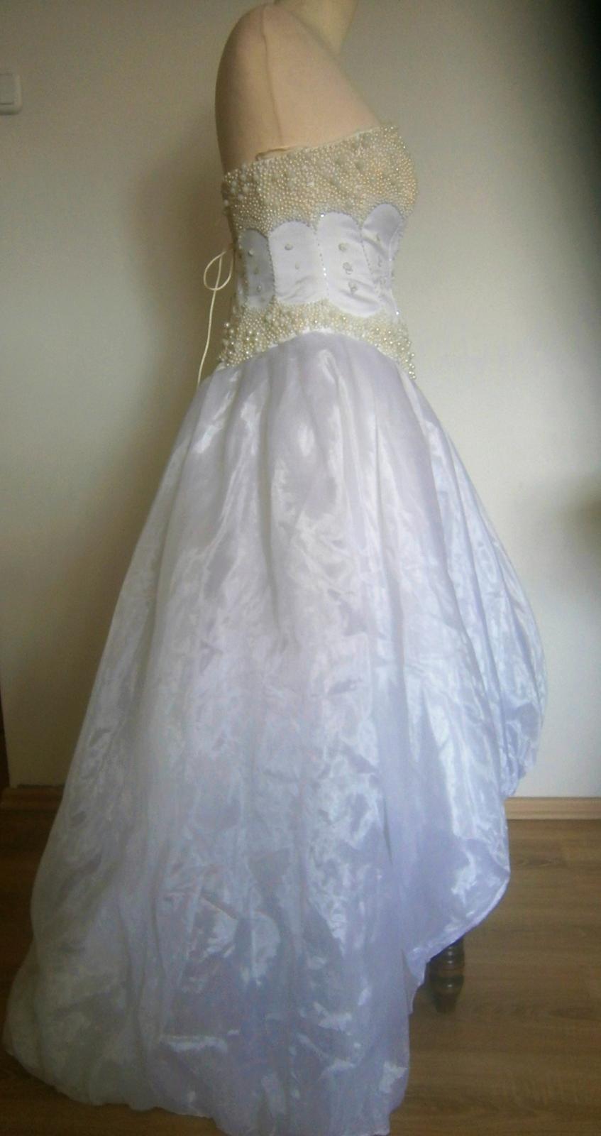 asymetrické šaty s perličkama vel. - Obrázek č. 1